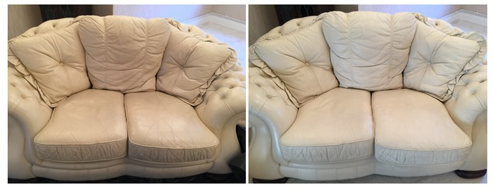 Leather Before and After cleaning